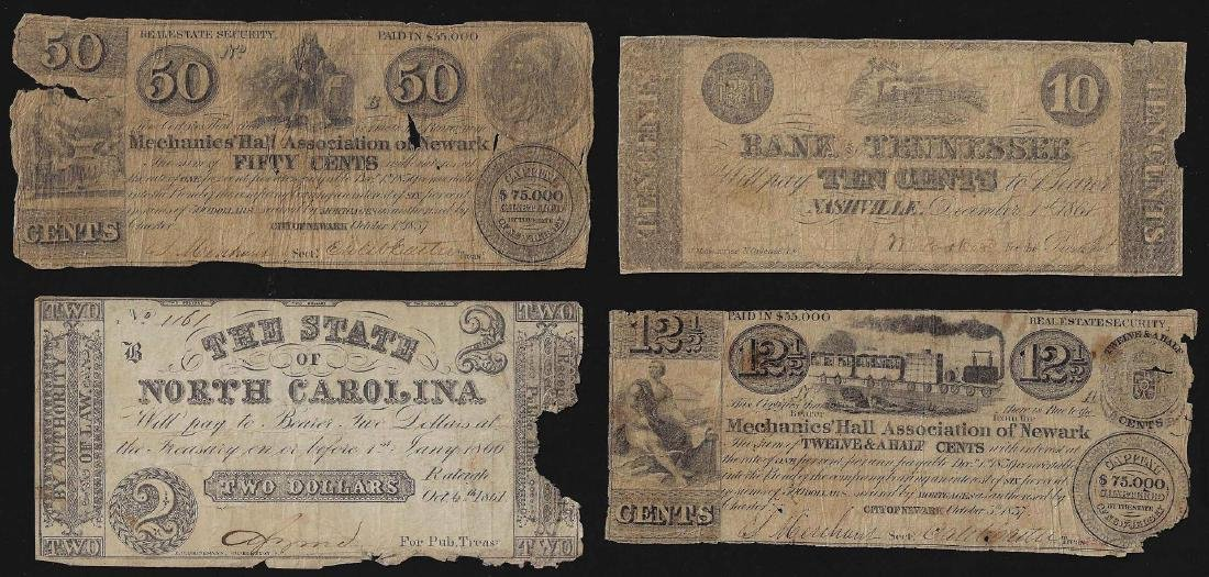 Misc Lot of 4 Obsolete Bank Notes