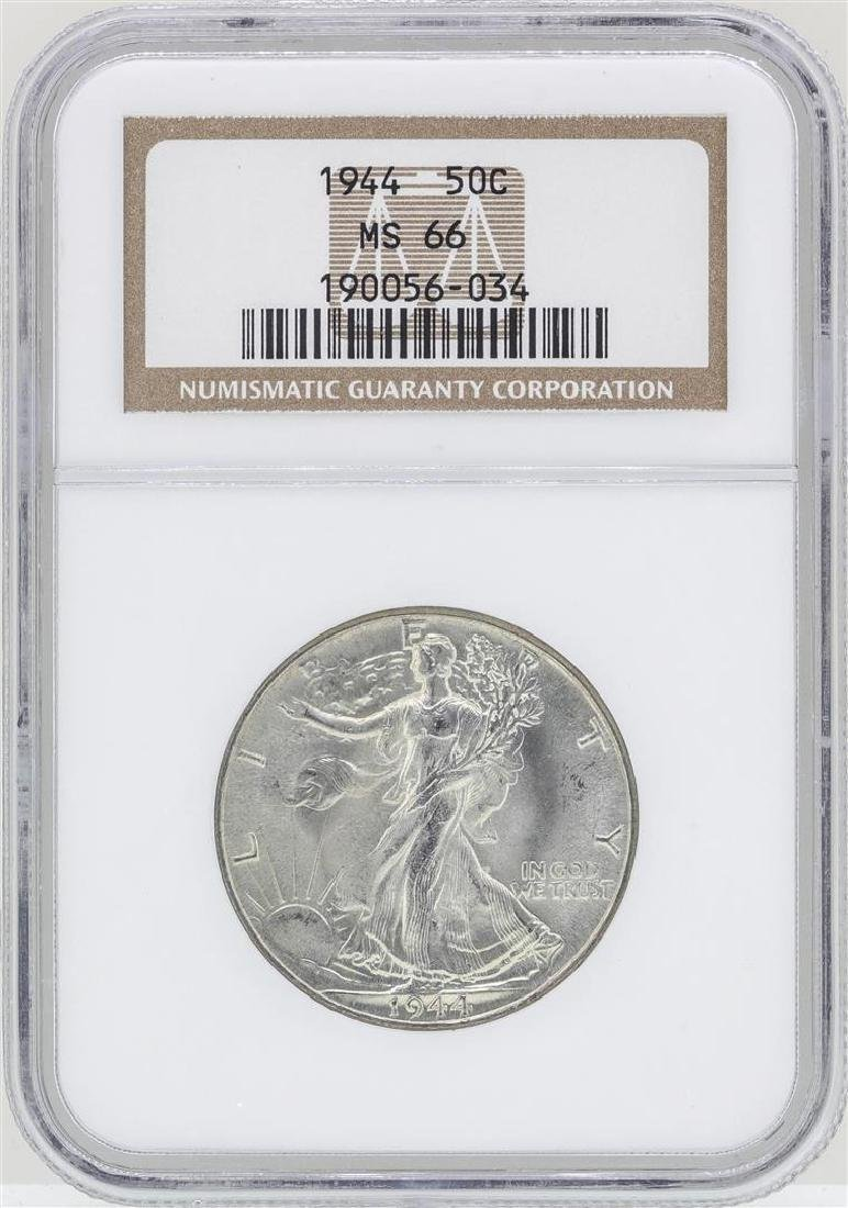1944 Walking Liberty Half Dollar Coin NGC MS66