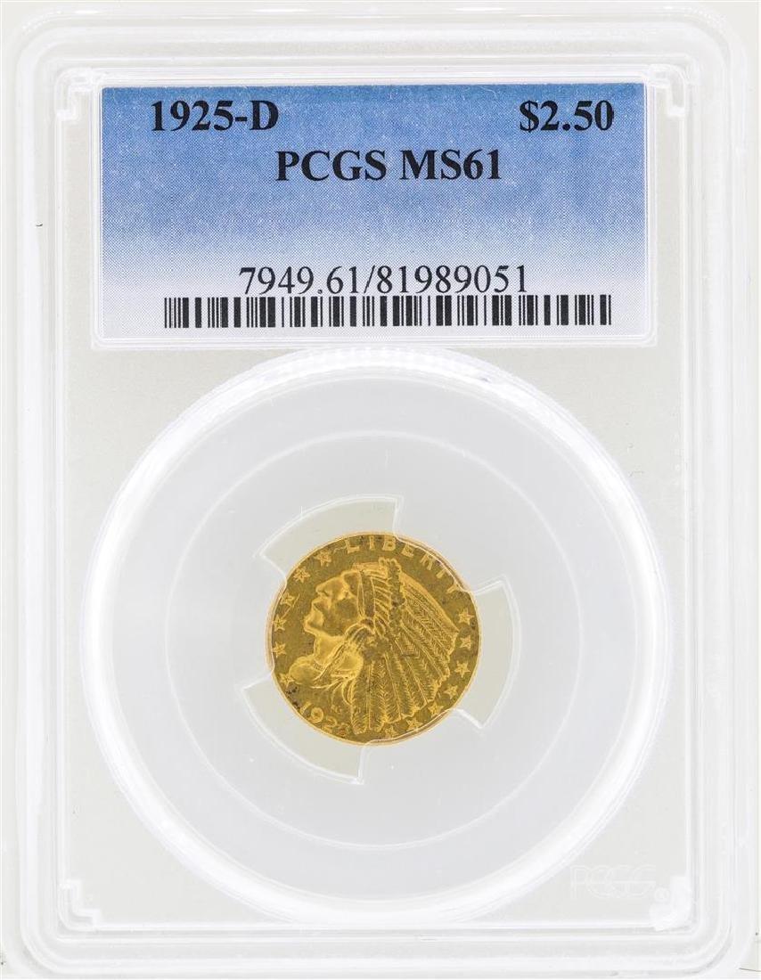 1925-D $2 1/2 Indian Head Quarter Eagle Gold Coin PCGS
