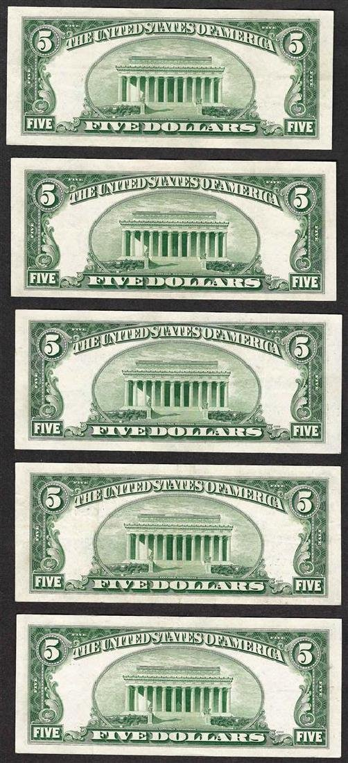 Lot of (5) 1953 $5 Silver Certificate Notes - 2
