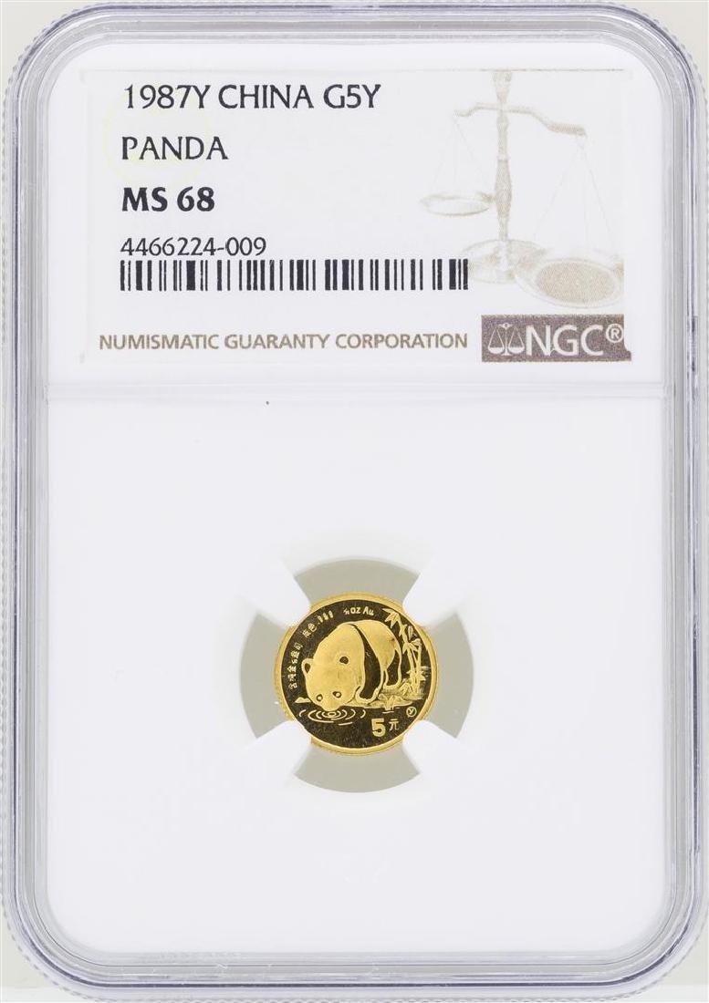1987Y China 5 Yuan Panda Gold Coin NGC MS68