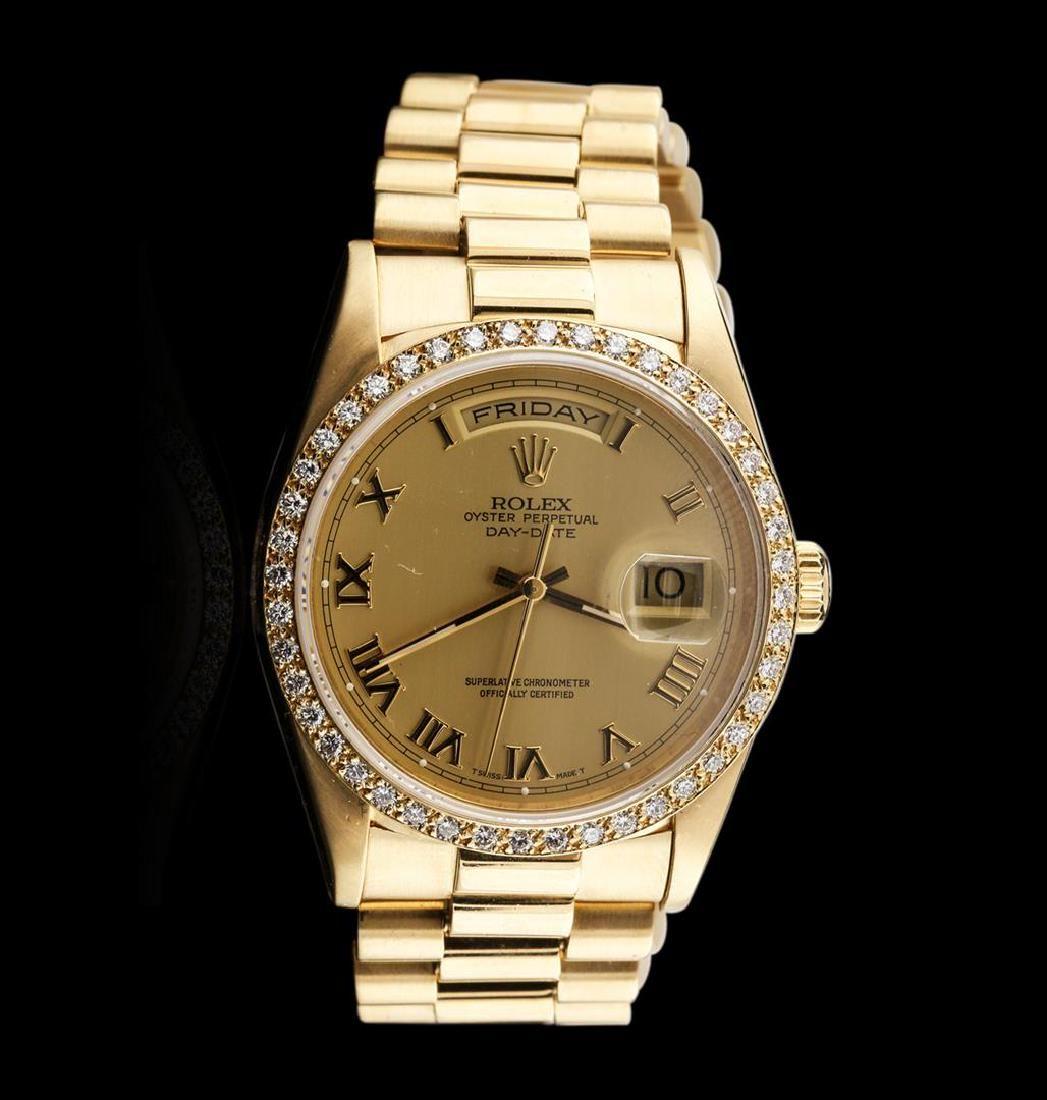 Men's 18KT Yellow Gold Rolex Diamond DayDate Watch