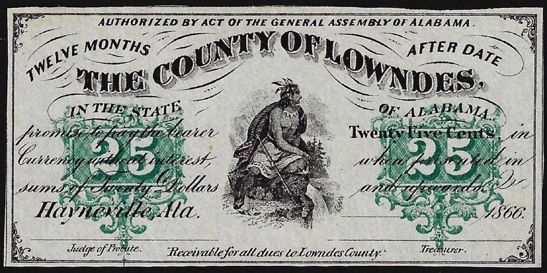 1866 Twenty-Five Cents County of Lowndes Obsolete Note