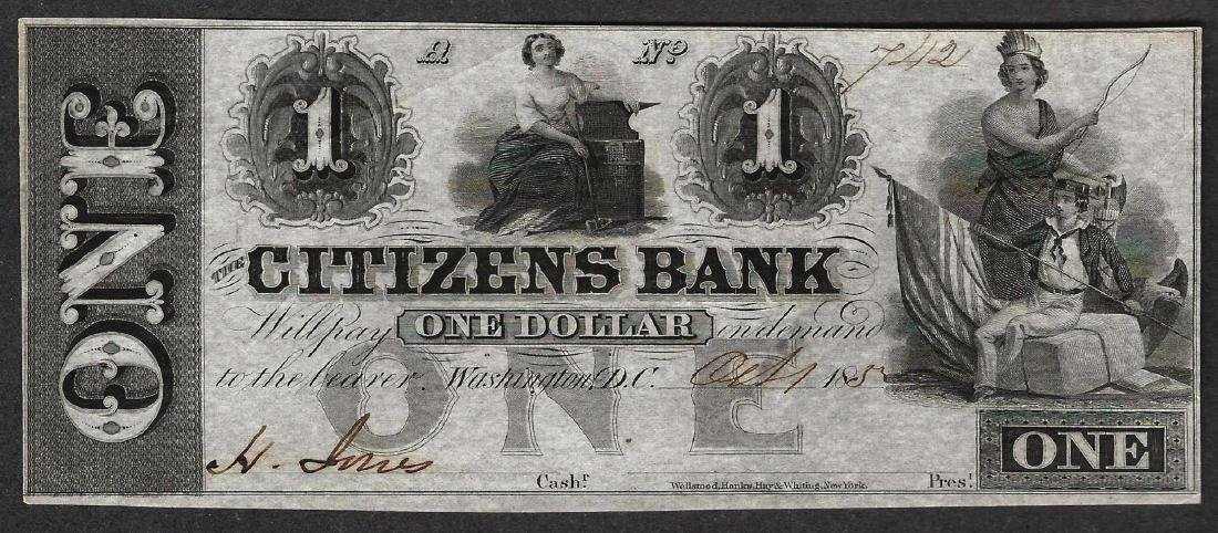 1852 $1 Citizens Bank Obsolete Note