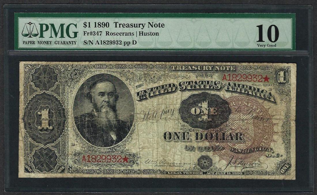 1890 $1 Treasury Note Fr.347 PMG Very Good 10