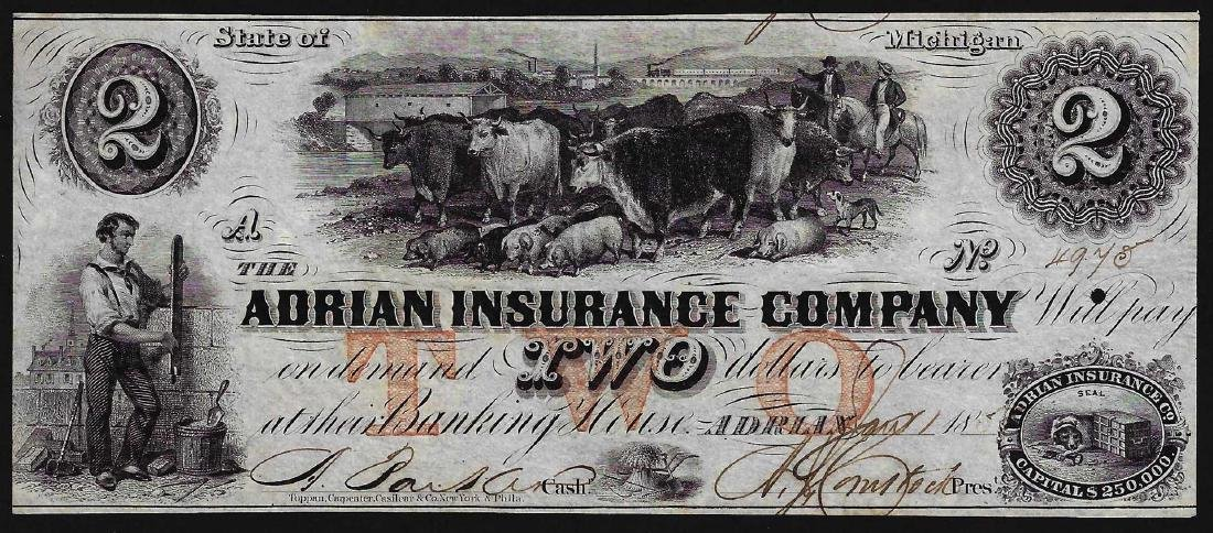 1850's $2 Adrian Insurance Company Obsolete Bank Note