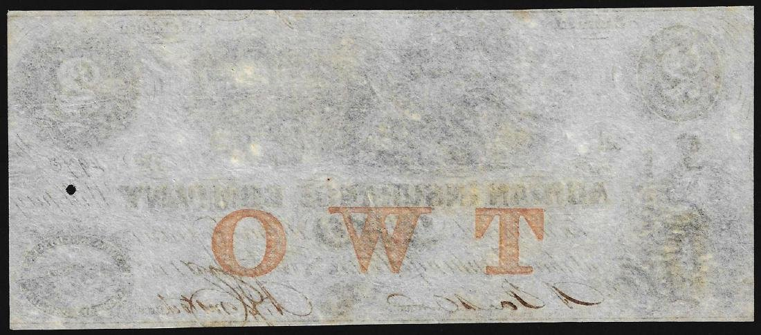 1850's $2 Adrian Insurance Company Obsolete Bank Note - 2