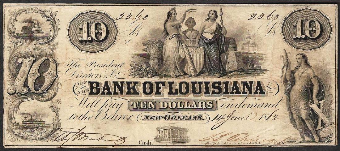 1862 $10 Bank of Louisiana Obsolete Note