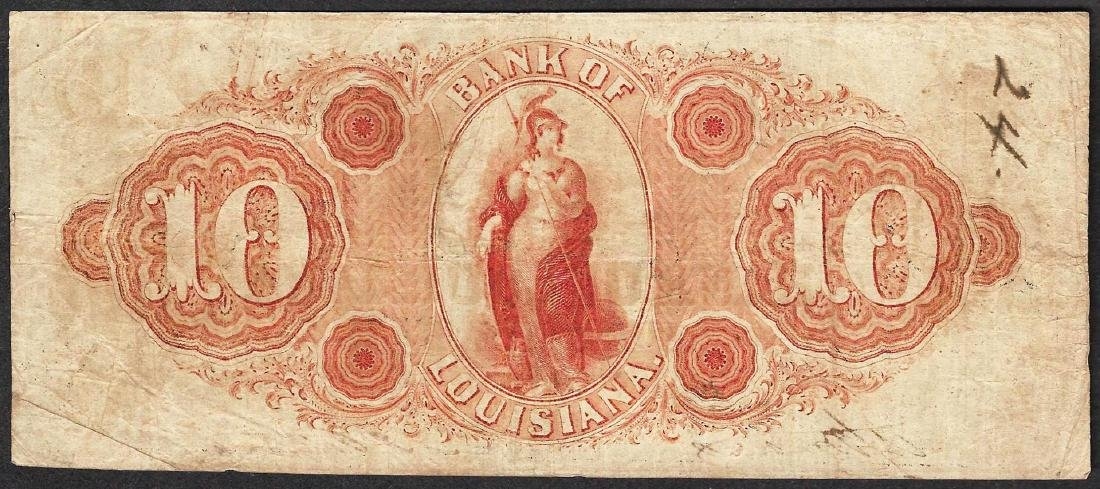 1862 $10 Bank of Louisiana Obsolete Note - 2