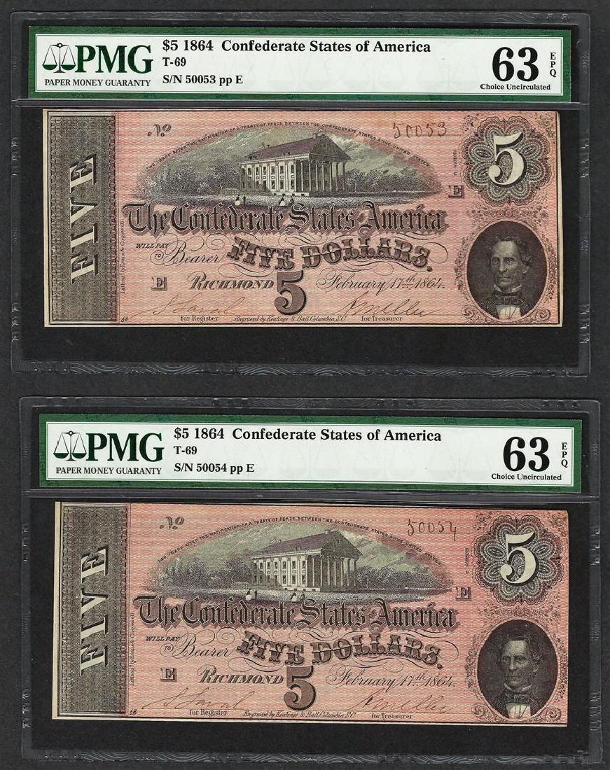 (2) Consec. 1864 $5 Confederate States of America Notes