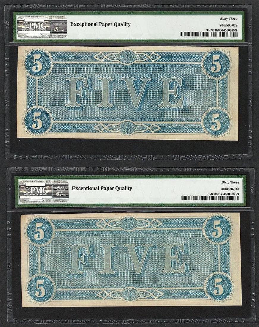 (2) Consec. 1864 $5 Confederate States of America Notes - 2