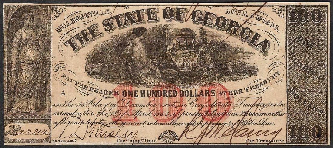 1864 $100 The State of Georgia Confederate Note