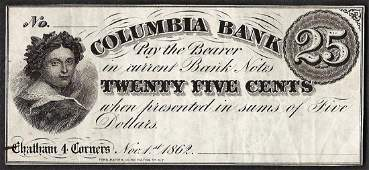 1862 Twenty Five Cents Columbia Bank Obsolete Note