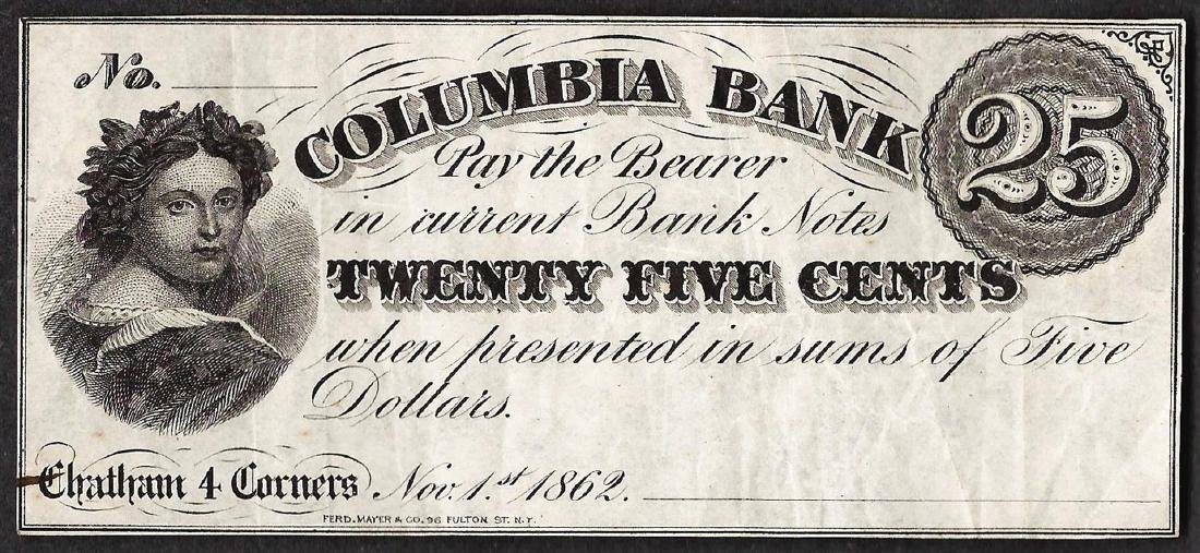 1862 Twenty Five Cents Columbia Bank Obsolete Note