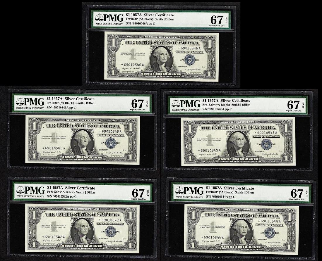 Lot of (5) 1957A $1 Silver Certificate STAR Notes PMG