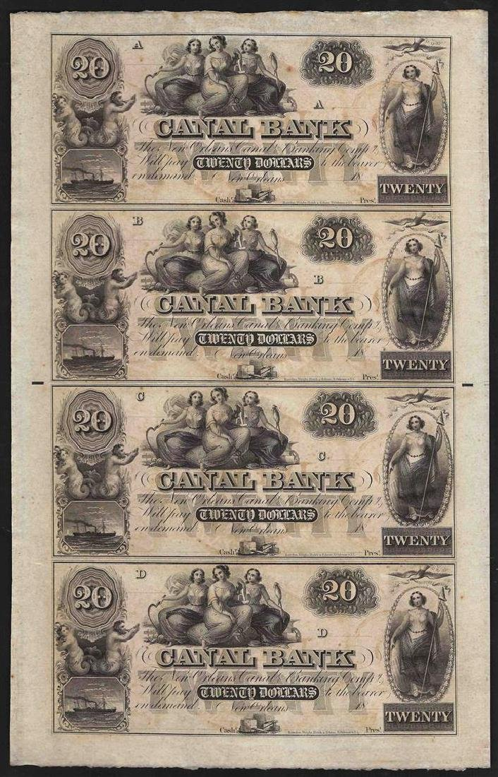 Uncut Sheet of $20 Canal Bank New Orleans Obsolete