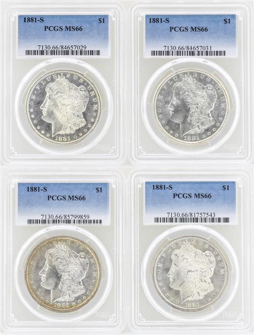 Lot of (4) 1881-S $1 Morgan Silver Dollar Coins PCGS
