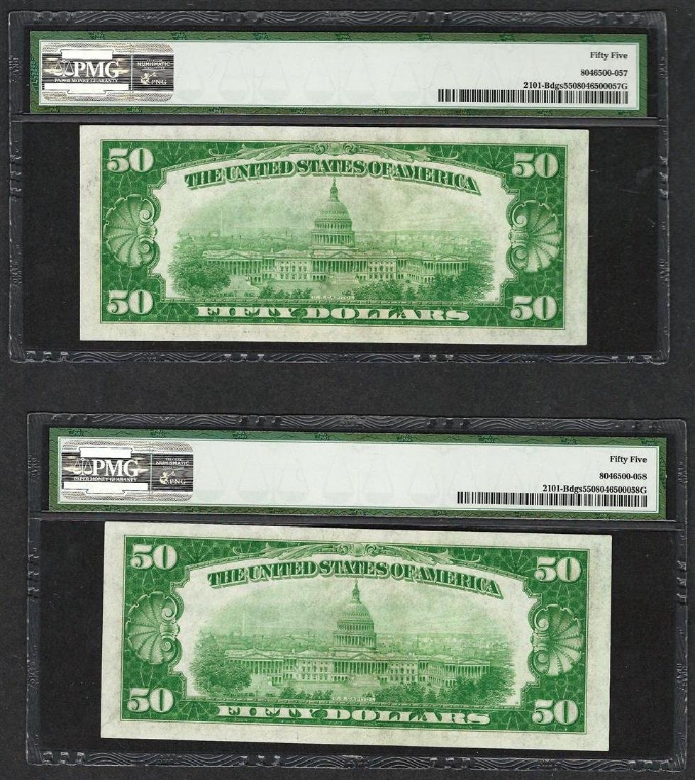 (2) Consecutive 1928A $50 Federal Reserve Notes New - 2