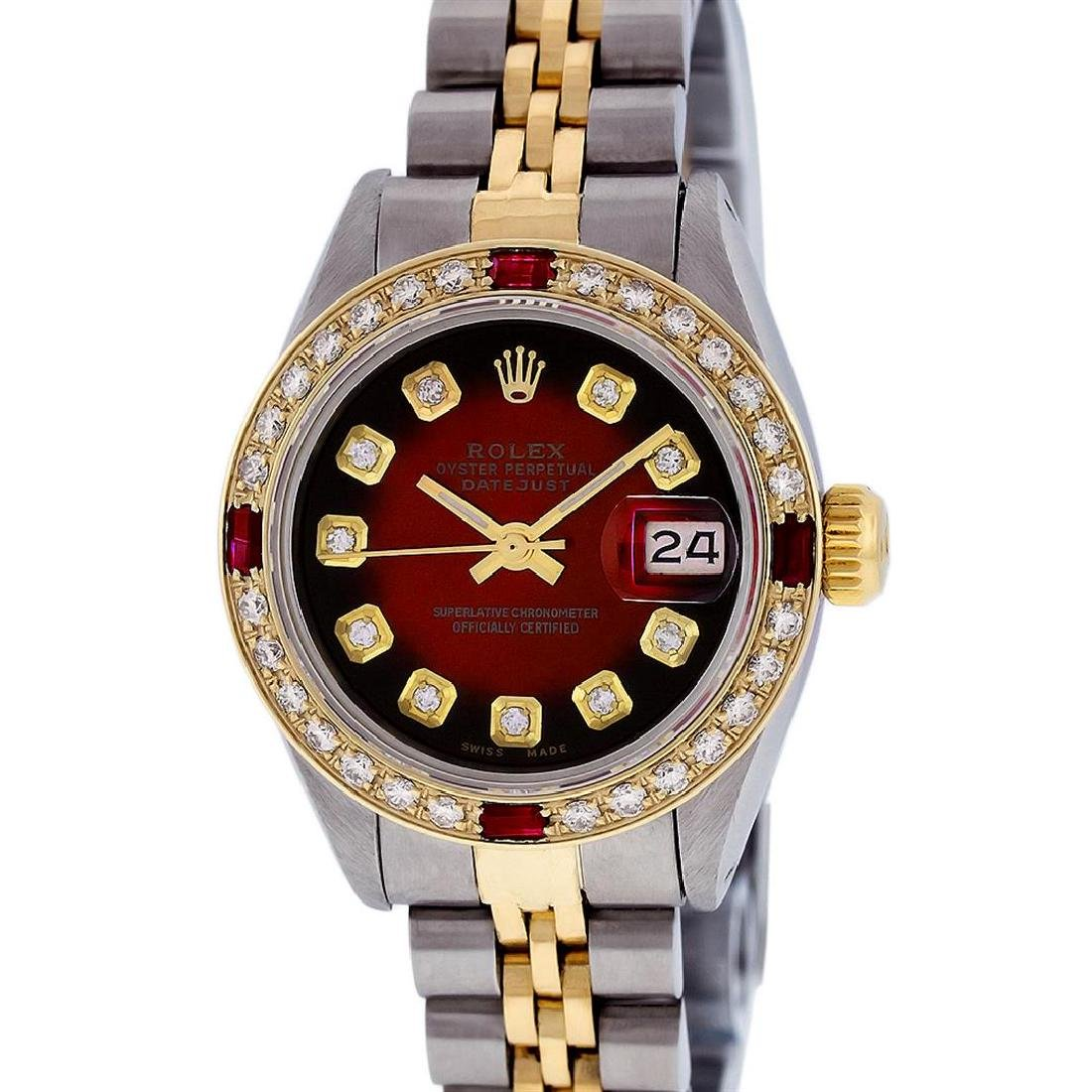 Ladies Rolex Two Tone Red Vignette Diamond and Ruby - 2