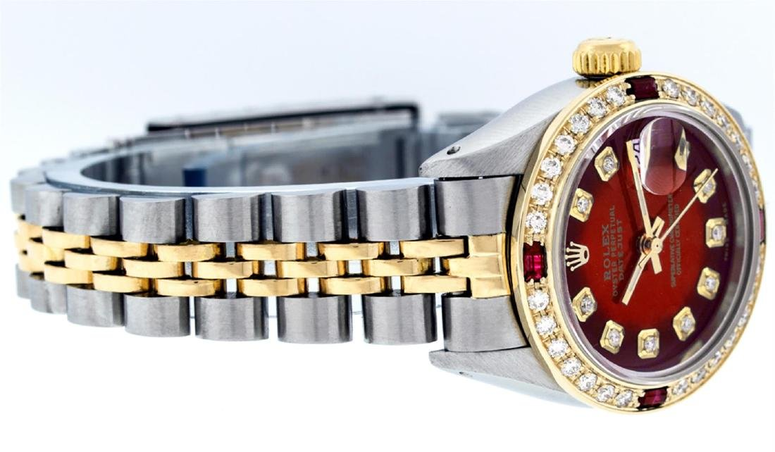 Ladies Rolex Two Tone Red Vignette Diamond and Ruby - 3