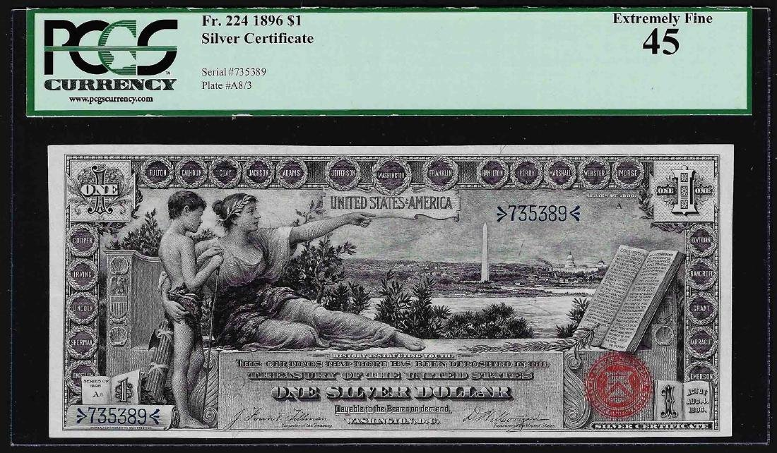 1896 $1 Educational Silver Certificate Note Fr.224 PCGS