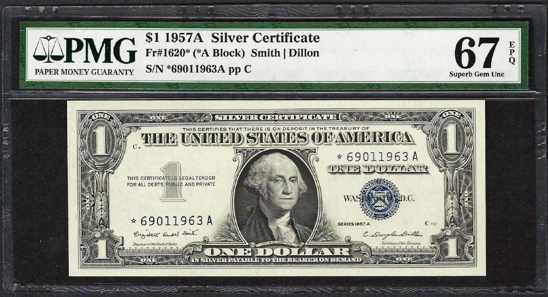 1957A $1 Silver Certificate STAR Note Fr.1620* PMG