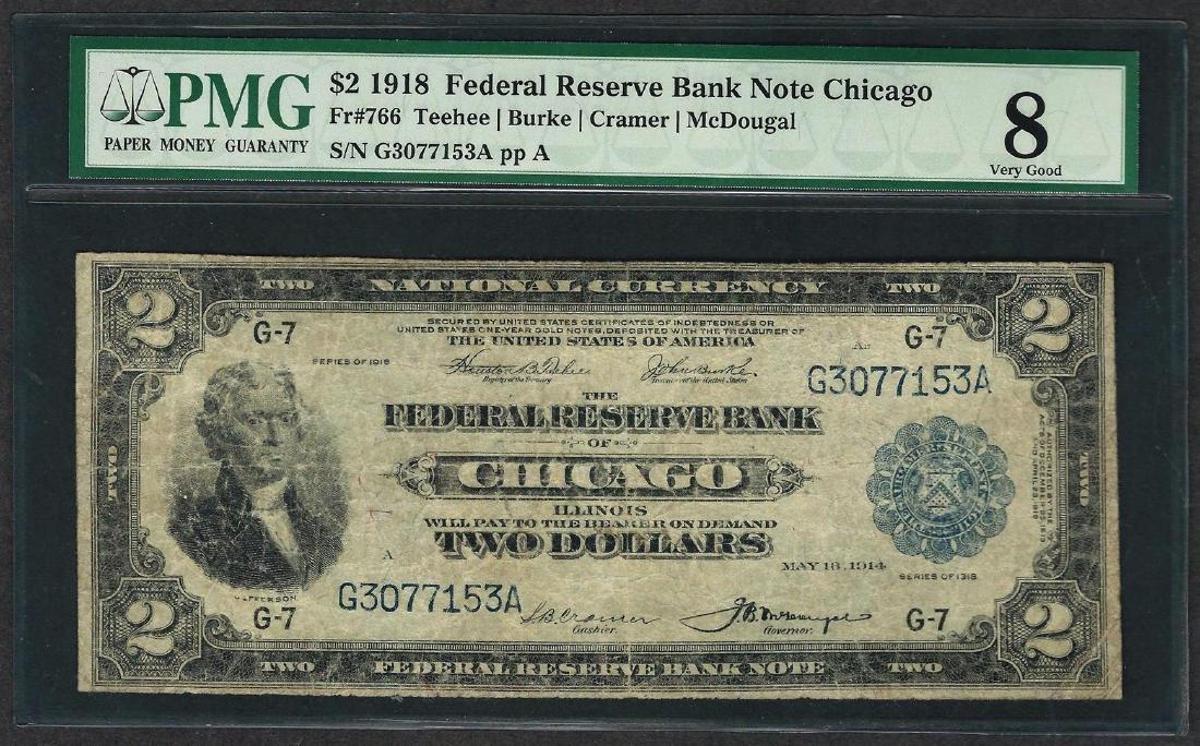 1918 $2 Battleship Federal Reserve Bank Note Chicago