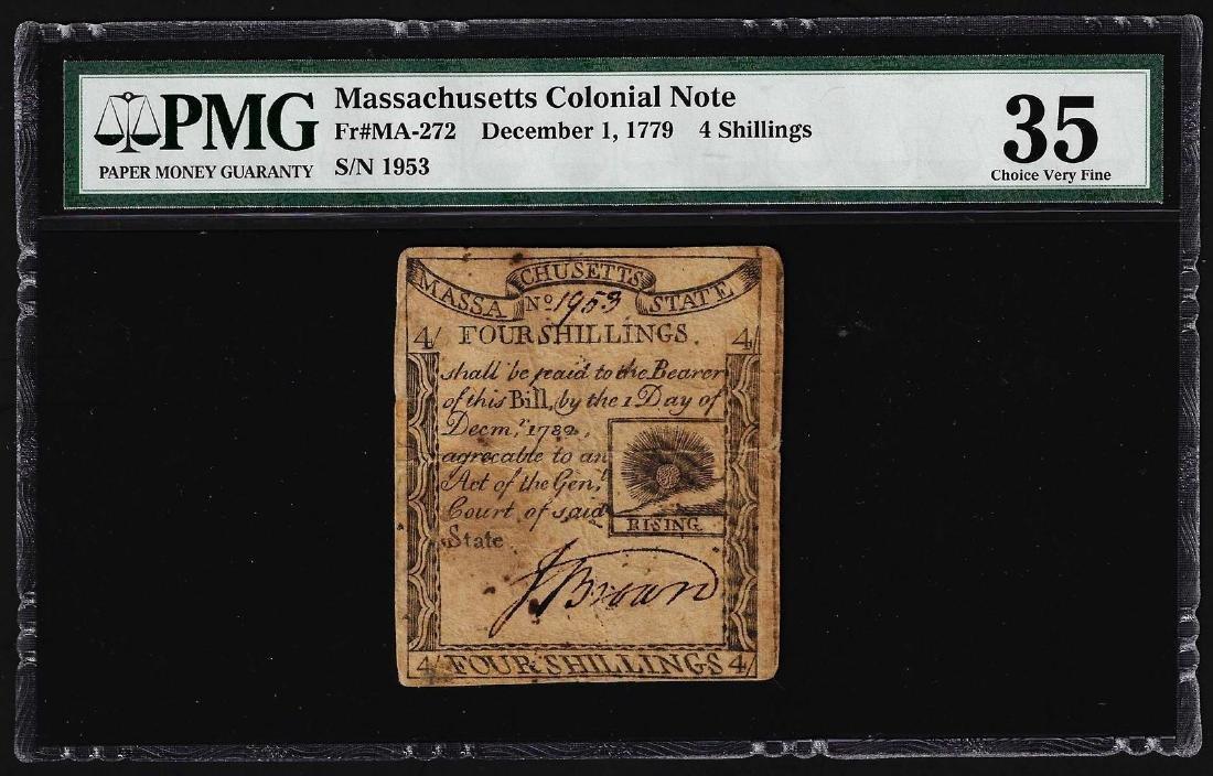 December 1, 1779 Massachusetts 4 Shillings Colonial