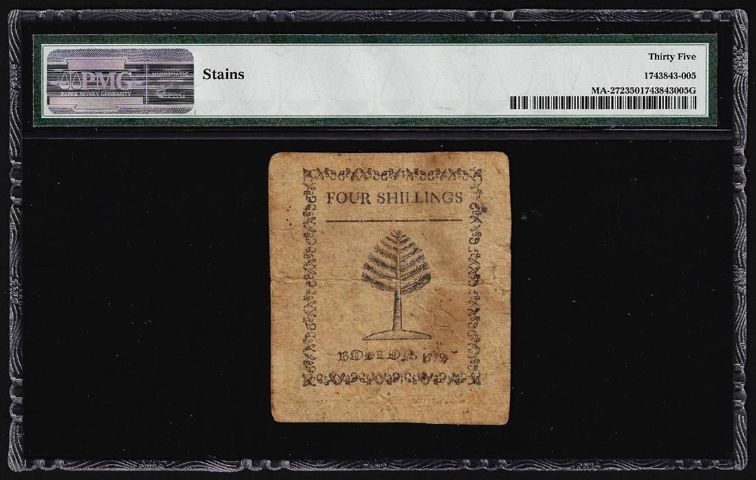 December 1, 1779 Massachusetts 4 Shillings Colonial - 2