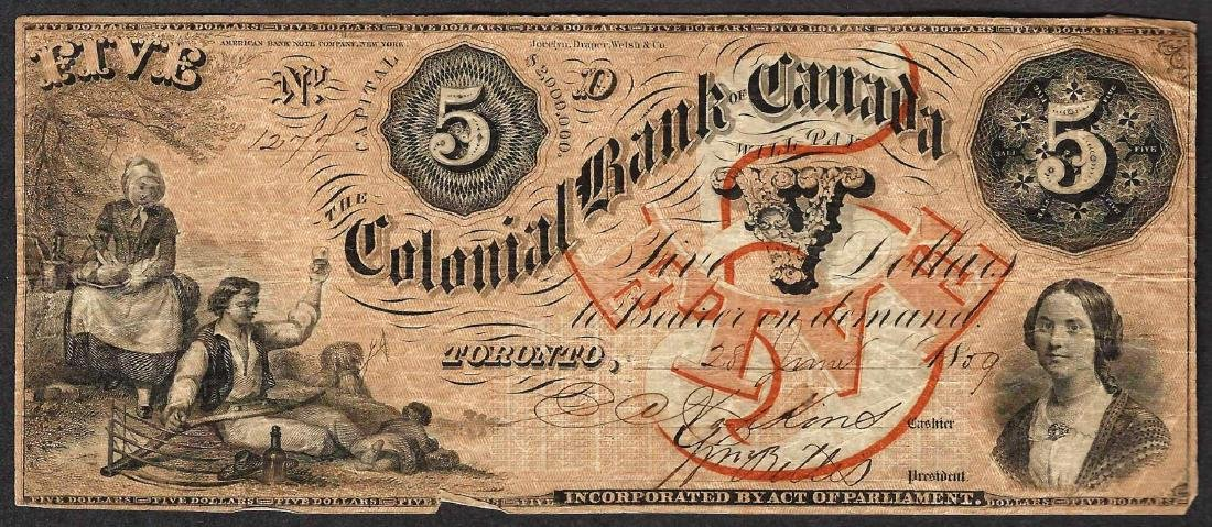 1859 $5 Colonial Bank of Canada Note