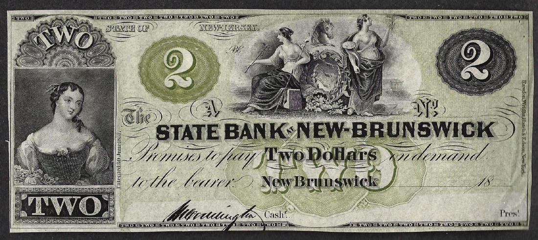 1800's $2 The State Bank at New-Brunswick Obsolete Note