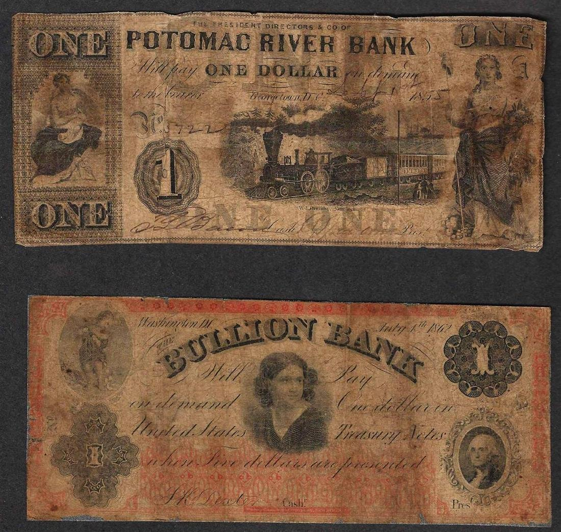 Lot of (2) Obsolete Bank Notes - 1855 $1 Potomax & 1862