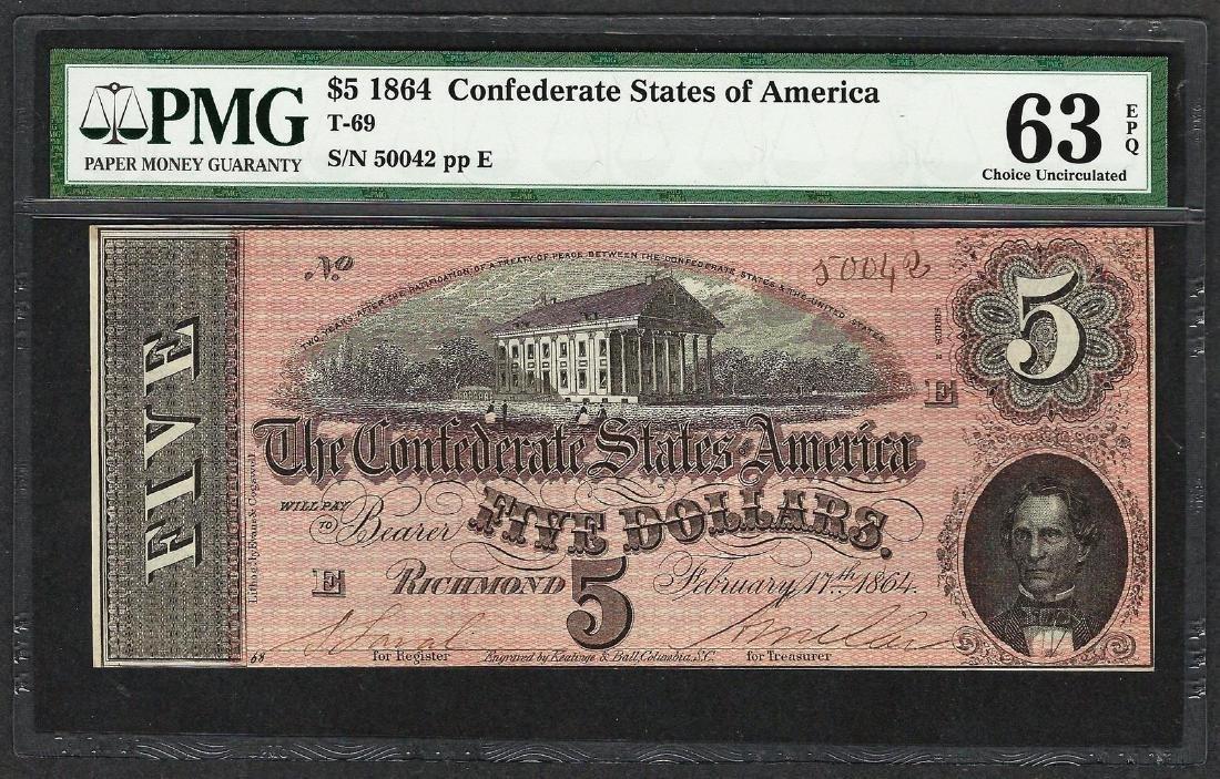 1864 $5 Confederate States of America Note T-69 PMG