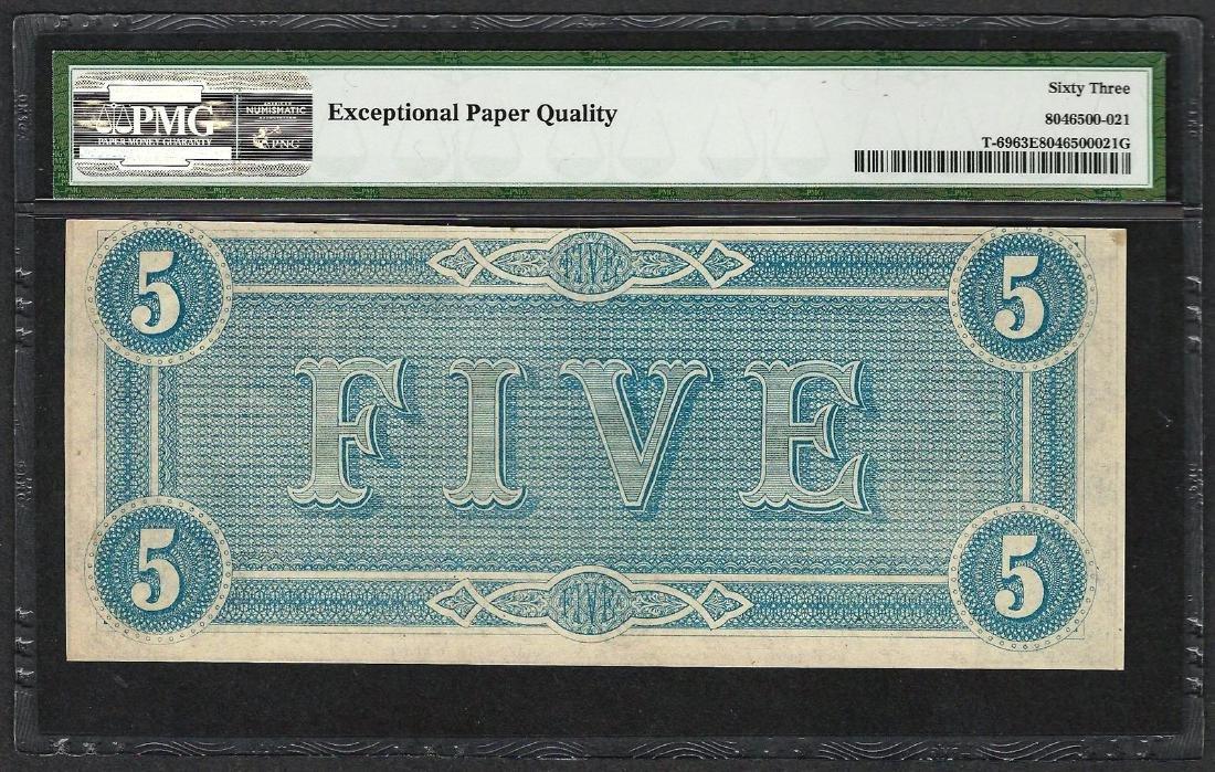 1864 $5 Confederate States of America Note T-69 PMG - 2