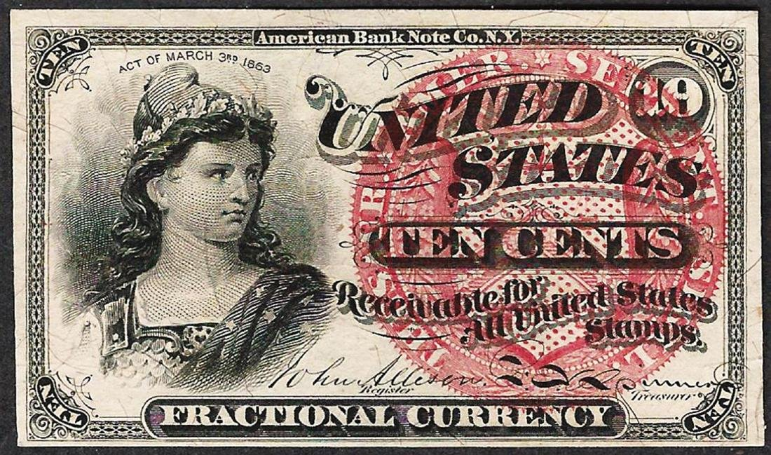 March 3, 1863 Ten Cent 4th Issue Fractional Note