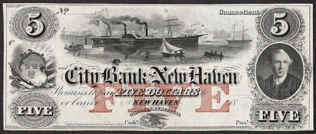 1800's $5 The City Bank of New Haven Obsolete Note