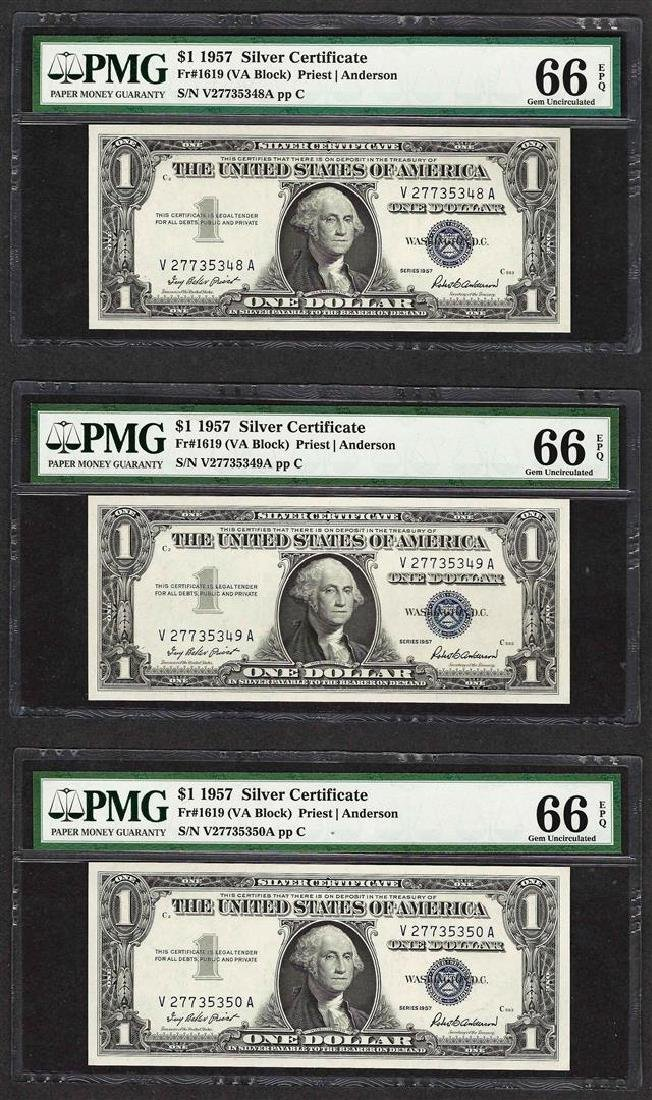 Lot of (3) Consecutive 1957 $1 Silver Certificate Notes