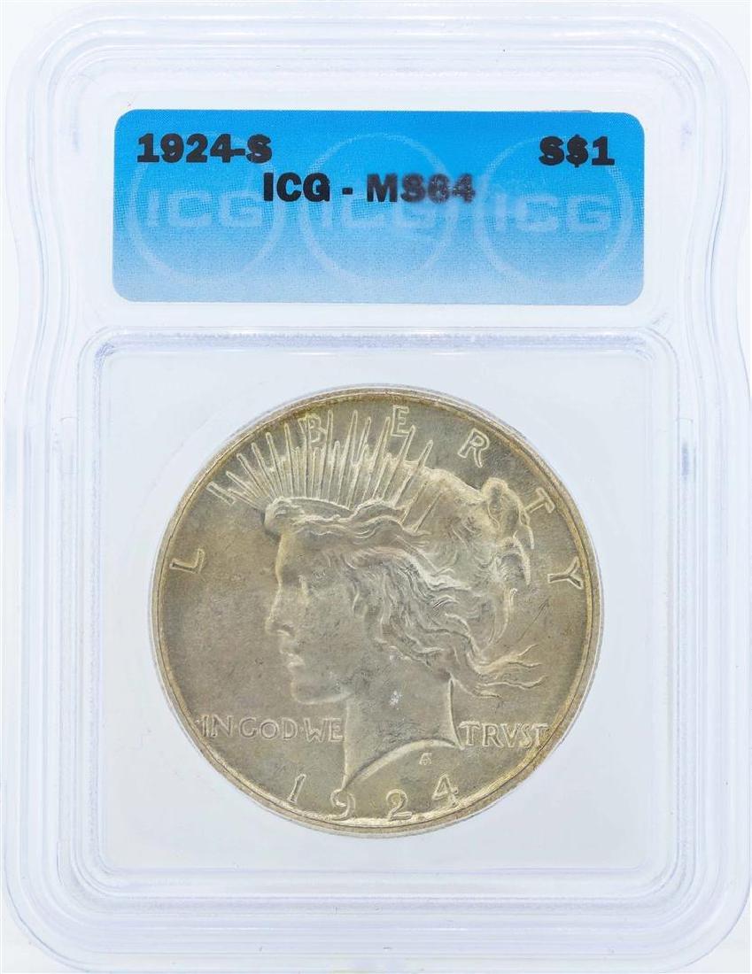 1924-S $1 Peace Silver Dollar Coin ICG MS64