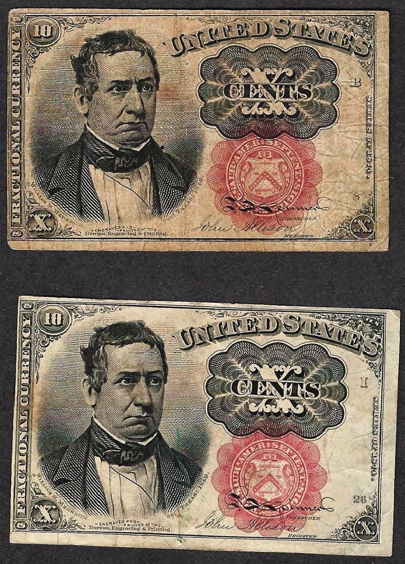 Lot of (2) 1874 Ten Cent 5th Issue Fractional Notes