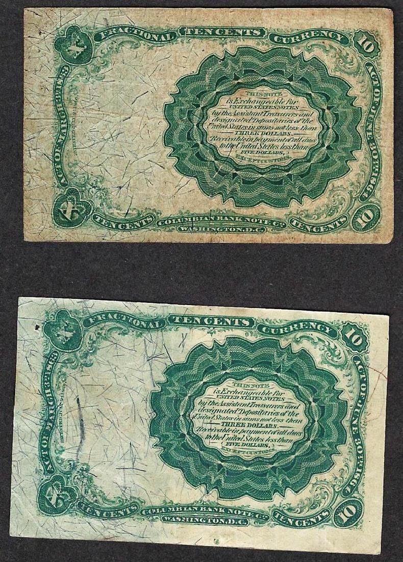 Lot of (2) 1874 Ten Cent 5th Issue Fractional Notes - 2