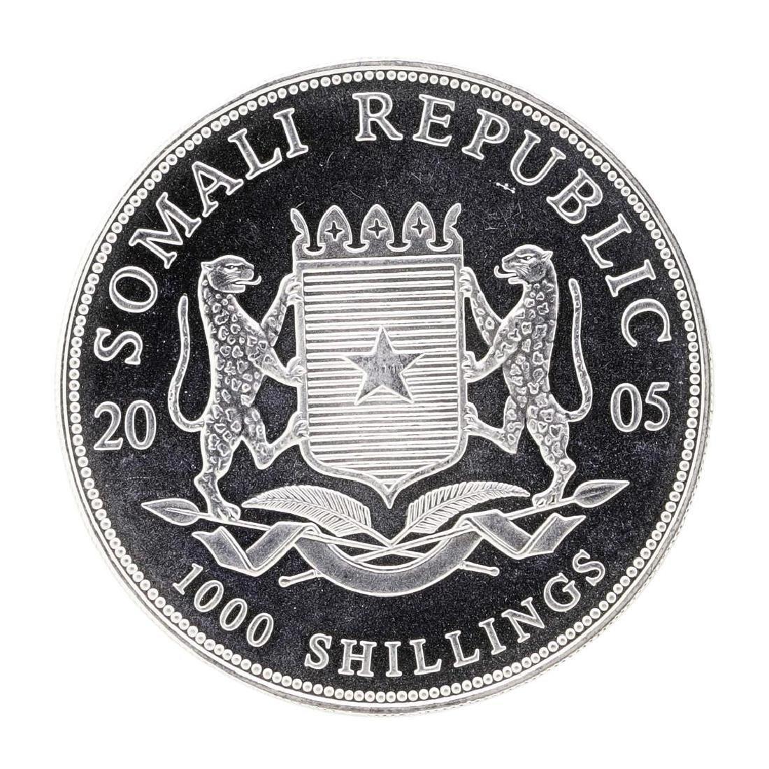 2005 1 oz. Silver Somalian African Elephant Coin - 2