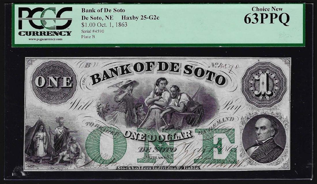 1800's $1 Bank of De Soto Obsolete Bank Note PCGS