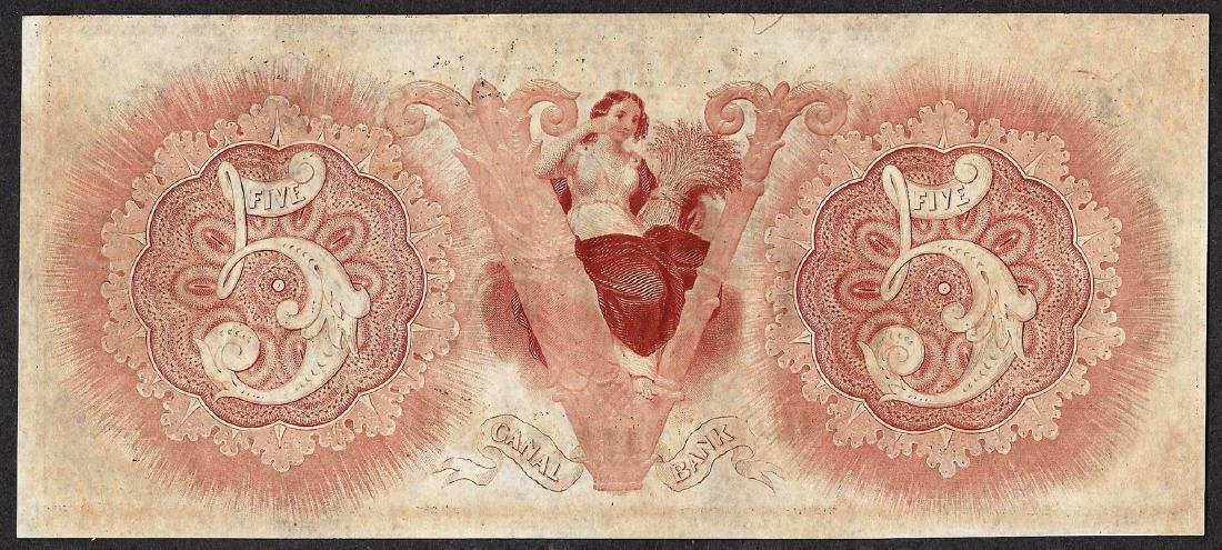 1800's $5 Canal Bank New Orleans Obsolete Note - 2