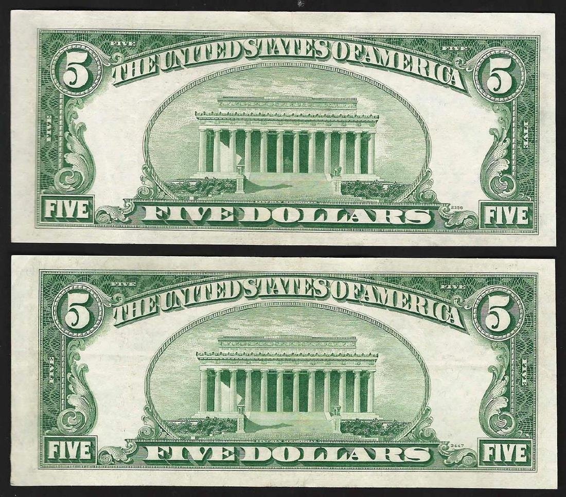 Lot of (2) 1953A $5 Legal Tender Notes - 2