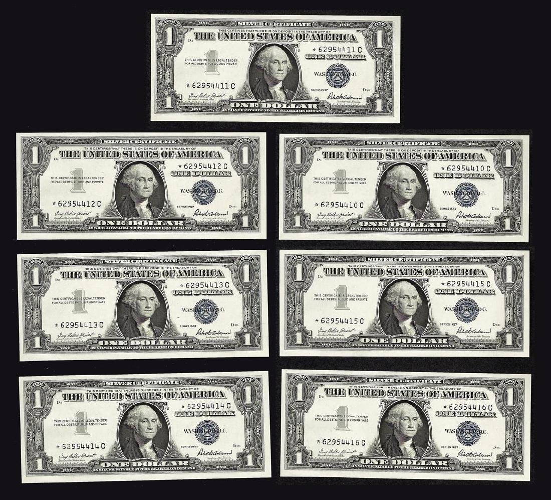 Lot of (7) Consecutive 1957 $1 Silver Certificate STAR