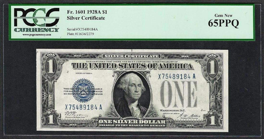 1928A $1 Funnyback Silver Certificate Note Fr.1601 PCGS