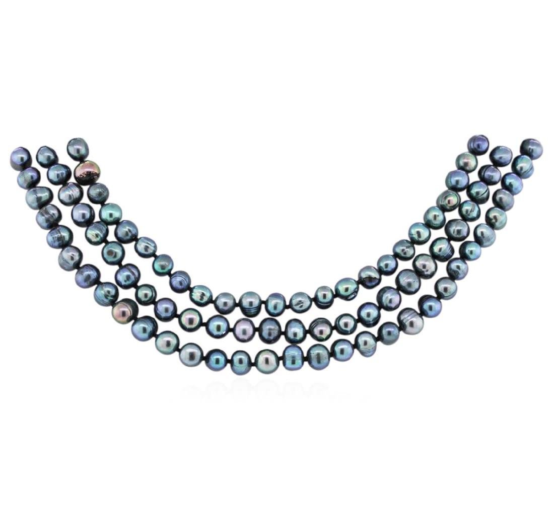 6.5-7.5MM Dark Coral Pearl Necklace - 2