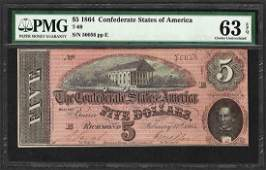 1864 5 Confederate States of America Note T69 PMG