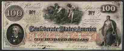 1862 100 Confederate States of America Note