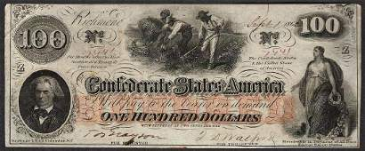 1862 100 Confederate States of America Note